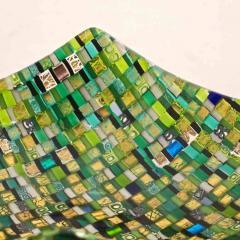 Modern Italian Jewel Like Green Yellow 24Kt Gold Murano Art Glass Mosaic Bowl - 407427