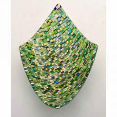 Modern Italian Jewel Like Green Yellow 24Kt Gold Murano Art Glass Mosaic Bowl - 407428