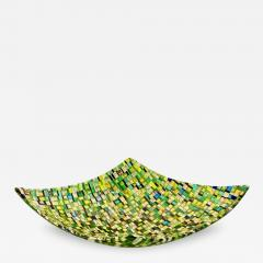Modern Italian Jewel Like Green Yellow 24Kt Gold Murano Art Glass Mosaic Bowl - 408000