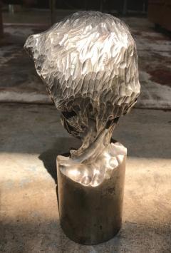 Modern Italian Sculpture Sterling Silver Child Portrait 1970s - 1043307