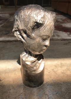 Modern Italian Sculpture Sterling Silver Child Portrait 1970s - 1043310