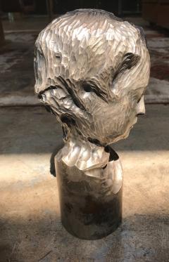 Modern Italian Sculpture Sterling Silver Child Portrait 1970s - 1043313