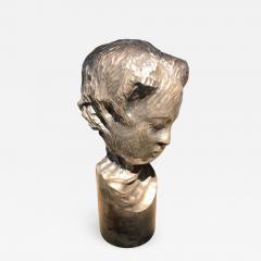 Modern Italian Sculpture Sterling Silver Child Portrait 1970s - 1043885