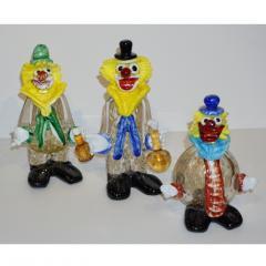 Modern Italian Yellow Black Murano Glass Clown Sculpture with Bottle Blue Tie - 1349850