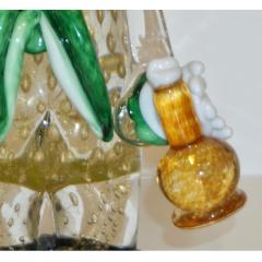 Modern Italian Yellow Black Murano Glass Clown Sculpture with Bottle Green Tie - 1349838