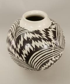 Modern Japanese Black and White Ceramic Studio Vase - 1905759
