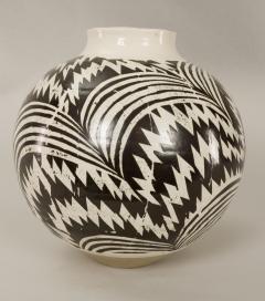 Modern Japanese Black and White Ceramic Studio Vase - 1905763