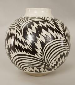 Modern Japanese Black and White Ceramic Studio Vase - 1905774