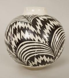 Modern Japanese Black and White Ceramic Studio Vase - 1905824
