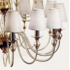 Modern Neoclassical Double Tier Murano Glass Chandelier - 1844438