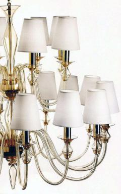 Modern Neoclassical Double Tier Murano Glass Chandelier - 1844440