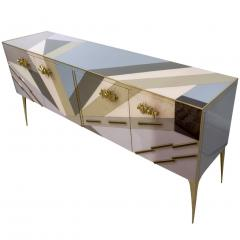 Modern One of a Kind Italian Pop Design Pastel Colored Glass Sideboard Cabinet - 502706