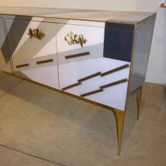 Modern One of a Kind Italian Pop Design Pastel Colored Glass Sideboard Cabinet - 502707