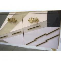 Modern One of a Kind Italian Pop Design Pastel Colored Glass Sideboard Cabinet - 502708