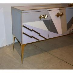 Modern One of a Kind Italian Pop Design Pastel Colored Glass Sideboard Cabinet - 502712