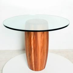 Modern Round Center Table Solid Cedar Wood Pedestal with Glass Top Mexico 1980s - 2076541