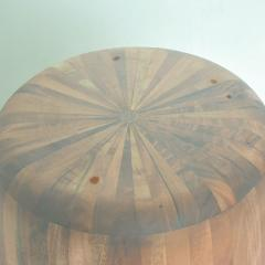 Modern Round Center Table Solid Cedar Wood Pedestal with Glass Top Mexico 1980s - 2076543