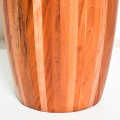 Modern Round Center Table Solid Cedar Wood Pedestal with Glass Top Mexico 1980s - 2076544
