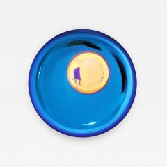Modern Sculptural Concave Blue Glass French Mirror - 1063129
