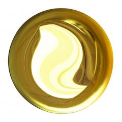 Modern Sculptural Concave Yellow Glass French Mirror - 1087711