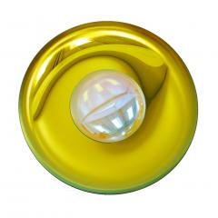 Modern Sculptural Concave Yellow Glass French Mirror - 1143261