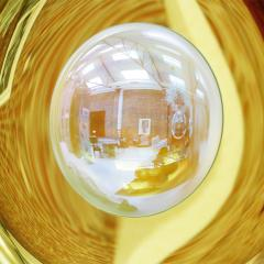 Modern Sculptural Concave Yellow Glass French Mirror - 1143268