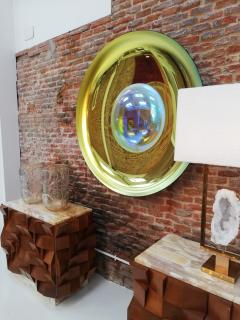 Modern Sculptural Concave Yellow Glass French Mirror - 1143271