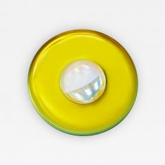 Modern Sculptural Concave Yellow Glass French Mirror - 1143474
