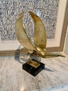 Modernist Brass Bird Hood Ornament Mounted on Marble Base - 1725239
