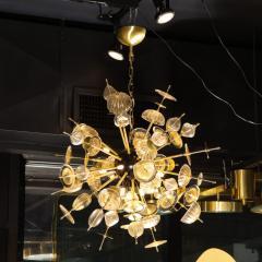Modernist Brass Black Enamel Sputnik w Clear Gold Handblown Murano Glass - 1949885