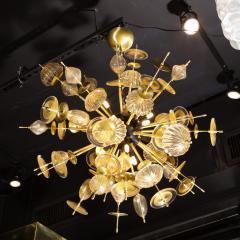 Modernist Brass Black Enamel Sputnik w Clear Gold Handblown Murano Glass - 1949886