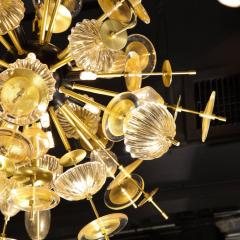 Modernist Brass Black Enamel Sputnik w Clear Gold Handblown Murano Glass - 1949887