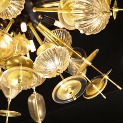 Modernist Brass Black Enamel Sputnik w Clear Gold Handblown Murano Glass - 1949889