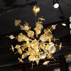 Modernist Brass Black Enamel Sputnik w Clear Gold Handblown Murano Glass - 1949896