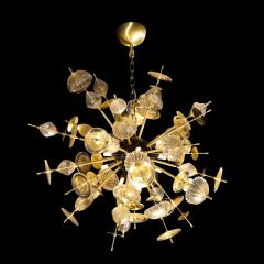 Modernist Brass Black Enamel Sputnik w Clear Gold Handblown Murano Glass - 1949897