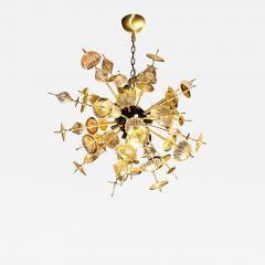 Modernist Brass Black Enamel Sputnik w Clear Gold Handblown Murano Glass - 1953285