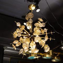Modernist Brass Black Enamel Sputnik w Clear Gold Handblown Murano Glass - 2004873