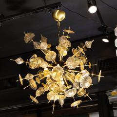 Modernist Brass Black Enamel Sputnik w Clear Gold Handblown Murano Glass - 2004874