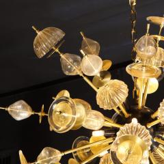 Modernist Brass Black Enamel Sputnik w Clear Gold Handblown Murano Glass - 2004875