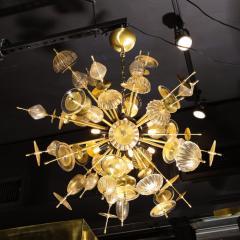 Modernist Brass Black Enamel Sputnik w Clear Gold Handblown Murano Glass - 2004895