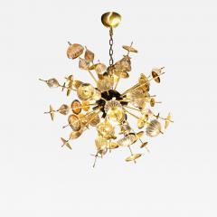 Modernist Brass Black Enamel Sputnik w Clear Gold Handblown Murano Glass - 2010070