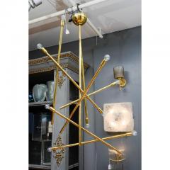 Modernist Brass Chandelier with Eight Lights - 729395