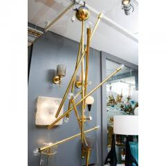 Modernist Brass Chandelier with Eight Lights - 729396