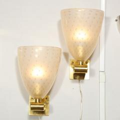 Modernist Brass Sconces with Hand Blown Murano 24 Karat Gold Glass with Murines - 1733388