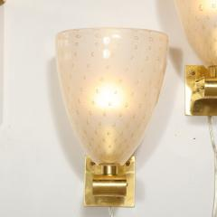 Modernist Brass Sconces with Hand Blown Murano 24 Karat Gold Glass with Murines - 1733389