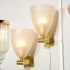Modernist Brass Sconces with Hand Blown Murano 24 Karat Gold Glass with Murines - 1733390