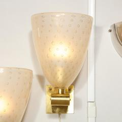 Modernist Brass Sconces with Hand Blown Murano 24 Karat Gold Glass with Murines - 1733391