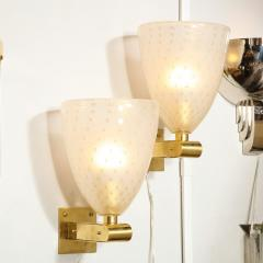 Modernist Brass Sconces with Hand Blown Murano 24 Karat Gold Glass with Murines - 1733395