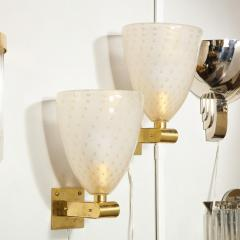 Modernist Brass Sconces with Hand Blown Murano 24 Karat Gold Glass with Murines - 1733401