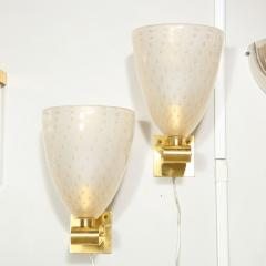 Modernist Brass Sconces with Hand Blown Murano 24 Karat Gold Glass with Murines - 1733402